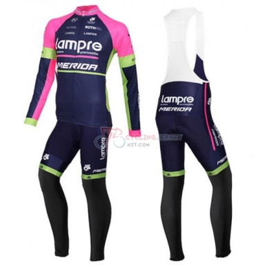 Lampre Cycling Jersey Kit Long Sleeve 2016 Blue And Pink