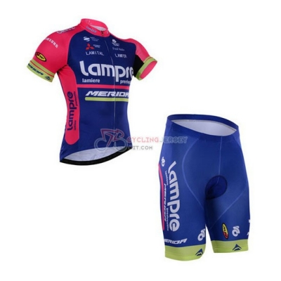 Lampre Cycling Jersey Kit Short Sleeve 2016 Pink And Blue