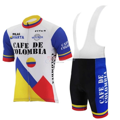 Colombia Cycling Jersey Kit Short Sleeve 2021 White Blue