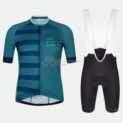 Tete De La Course Cycling Jersey Kit Short Sleeve 2018 Green Blue