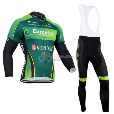 Europcar Cycling Jersey Kit Long Sleeve 2014 Black And Green